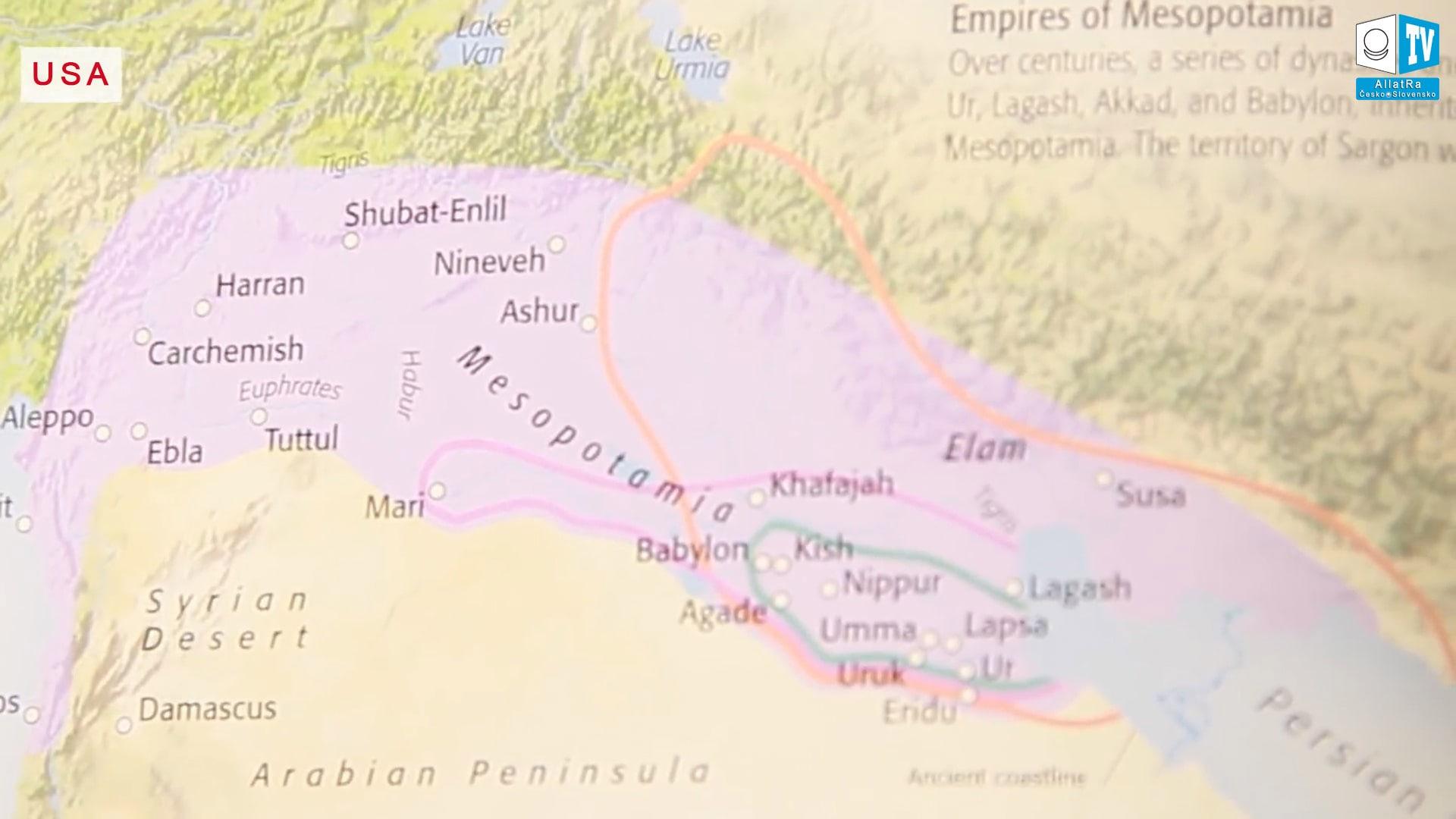 Mapa Mezopotámie ze starověku. Foto