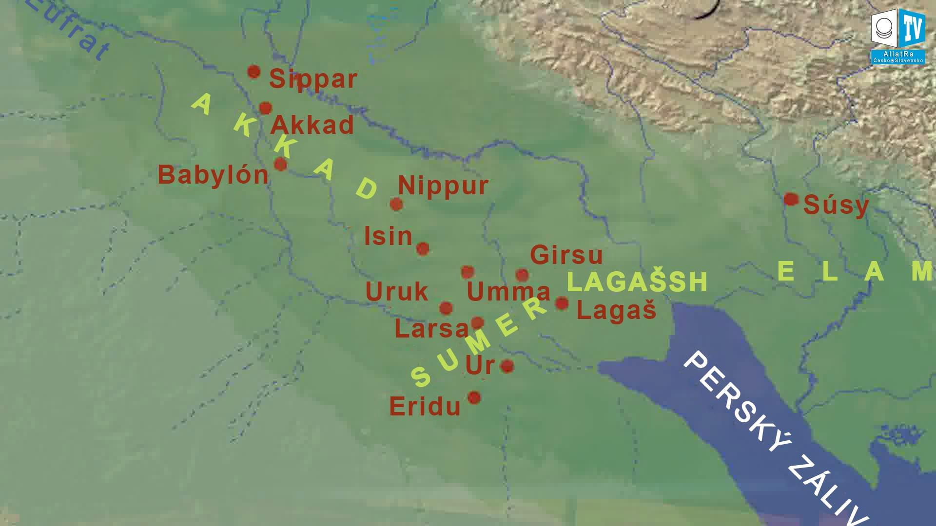 Mapa Mezopotámie. Foto